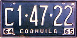 Coahuila Mexico License Plate Placa commercial truck camion publico