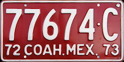 Coahuila Mexico License Plate Placa commercial bus autobus publico