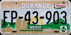 Durango Mexico License Plate Placa prototype truck camion