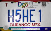 2017 Durango Mexico License Plate Placa motorcycle motocicleta