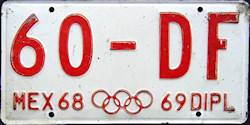 Mexico License Plate Placa diplomatic diplomatico
