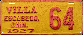 Villa Escobedo Chihuahua Mexico License Plate Placa