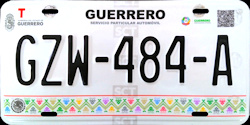 2017 Guerrero Mexico License Plate Placa