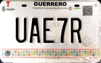 2017 Guerrero Mexico License Plate Placa motorcycle motocicleta
