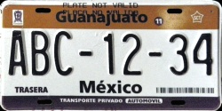 Guanajuato Mexico License Plate Placa prototype prototipo