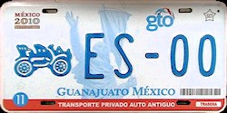 Guanajuato Mexico License Plate Placa antique auto antiguo