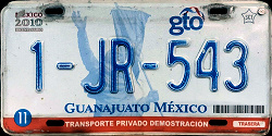 Guanajuato Mexico License Plate Placa dealer demostracion