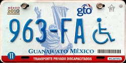 Guanajuato Mexico License Plate Placa handicapped discapacitados