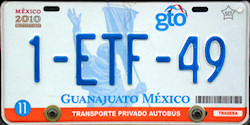 Guanajuato Mexico License Plate Placa bus autobus