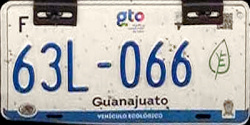 Guanajuato Mexico License Plate Placa eco-friendly automovil ecologico