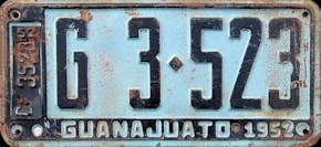 Guanajuato Mexico License Plate Placa commercial publico