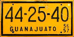 Guanajuato Mexico License Plate Placa commercial bus autobus taxi publico