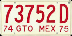 Guanajuato Mexico License Plate Placa commercial bus autobus publico