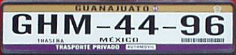 Guanajuato Mexico License Plate Placa European Euro sized