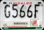 Hidalgo Mexico License Plate Placa motorcycle motocicleta