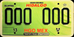 Hidalgo Mexico License Plate Placa prototype prototipo