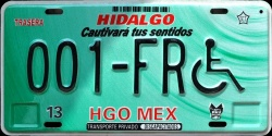 Hidalgo Mexico License Plate Placa handicapped discapacitados