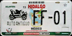 Hidalgo Mexico License Plate Placa antique auto antiguo