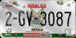Hidalgo Mexico License Plate Placa trailer remolque