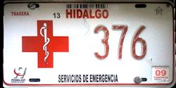 Hidalgo Mexico License Plate Placa emergency services servicios de emergencia