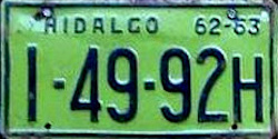 Hidalgo Mexico License Plate Placa commercial truck camion publico