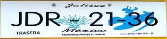 Jalisco Mexico License Plate Placa European Euro sized