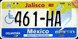 Jalisco Mexico License Plate Placa handicapped discapacitados