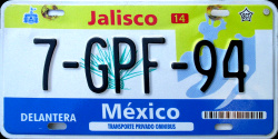 Jalisco Mexico License Plate Placa bus autobus