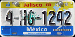 Jalisco Mexico License Plate Placa trailer remolque