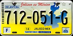 Jalisco Mexico License Plate Placa commercial bus autobus publico colectivo