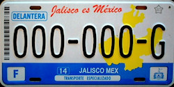 Jalisco Mexico License Plate Placa commercial bus special transport autobus publico transporte especializado