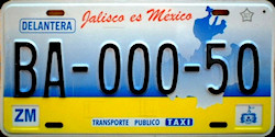 Jalisco Mexico License Plate Placa taxi publico prototype