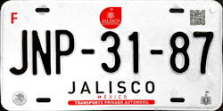 2017 Jalisco Mexico License Plate Placa