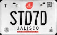2017 Jalisco Mexico License Plate Placa motorcycle motocicleta