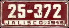 Jalisco Mexico License Plate Placa commercial bus taxi autobus publico