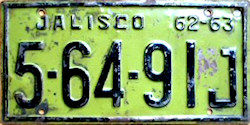 Jalisco Mexico License Plate Placa commercial truck camion publico