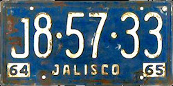 Jalisco Mexico License Plate Placa commercial truck camion trailer remolque publico