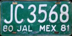 Jalisco Mexico License Plate Placa truck camion