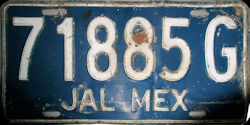 Jalisco Mexico License Plate Placa commercial bus autobus publico
