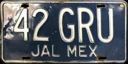 Jalisco Mexico License Plate Placa taxi publico