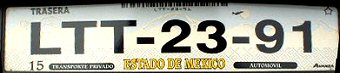 Estado de Mexico License Plate Placa European Euro sized