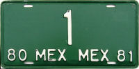 Mexico Low Number License Plates Placas