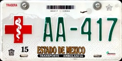 Estado de Mexico License Plate Placa ambulance ambulancia