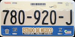 Estado de Mexico License Plate Placa commercial bus autobus publico