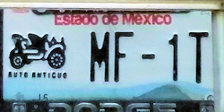 Estado de Mexico License Plate Placa antique auto antiguo