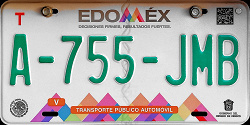 Estado de Mexico License Plate Placa taxi publico