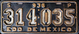 Estado de Mexico License Plate Placa servicio publico commercial