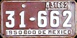 Estado de Mexico License Plate Placa commercial bus taxi autobus publico