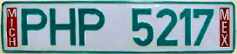 Michoacan Mexico License Plate Placa European Euro sized