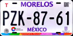 2017 Morelos Mexico License Plate Placa